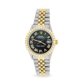 Rolex Datejust 36mm 2-Tone WATCH with 3.10ct Diamond Bezel/Black Pearl Diamond Roman Dial