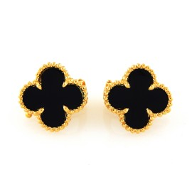 Van Cleef & Arpels 18K Yellow Gold & Black Onyx Earrings