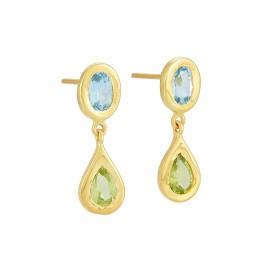 Yossi Harari Jewelry Roxanne 18k Gold Blue Topaz & Peridot Mica Earrings