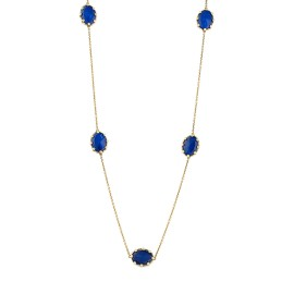 18k Yg 7 Oval Smooth Top Lapis and Crystal With Pol Yg Prongs and Chain, No Diamond Tivoli Necklace