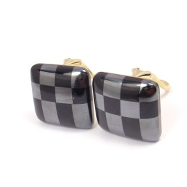 Tiffany & Co. Cummings 18K Gold Inlaid Onyx Hematite Clip Earrings