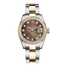 Rolex Women's New Style Two-Tone Datejust with Custom Dark Mother of Pearl Diamond Dial on Oyster Band