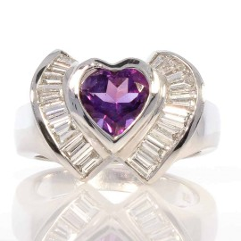 Ring 18KW, Amethyst & Dia 1.08ctw BAG 1 Heart Shape Ame