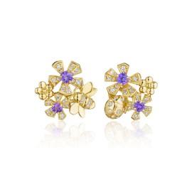 18K Gold Wonderland Pow Orchid Stud Earrings