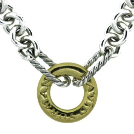 David Yurman  Silver and 18K Yellow Gold Necklace