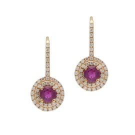 14K Rose Gold Ruby Diamond Drop Earrings