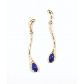 Tiffany & Co. Peretti 18K Yellow Gold & Lapis Lazuli Tear Drop Dangle Earrings