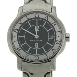 Bvlgari Solotempe St 29 S Stainless Steel Black Dial Bracelet Watch