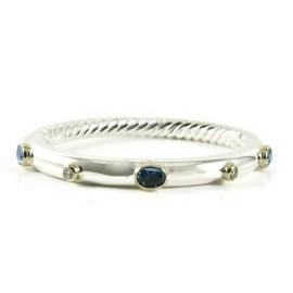 David Yurman Sterling Silver 18K Yellow Gold 5mm Bezel Set Blue Topaz Diamond Renaissance Bracelet