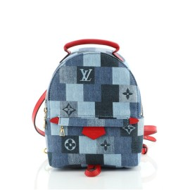 Louis Vuitton Palm Springs Backpack Damier and Monogram Patchwork Denim Mini