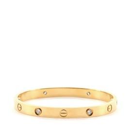 Cartier Love 4 Diamonds Bracelet 18K Yellow Gold with Diamonds
