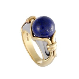 Bulgari 18K Yellow and White Gold with Lapis Lazuli Cocktail Ring Size 5.0