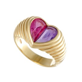 Bulgari Doppio 18K Yellow Gold Pink Tourmaline and Purple Amethyst Heart Ring Size 6.75