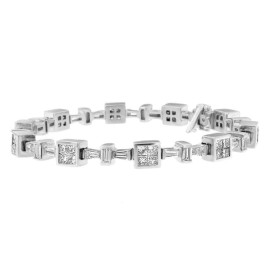 14K White Gold 5.80ct. TDW Princess and Baguette Cut Diamond Geometric Tennis Bracelet