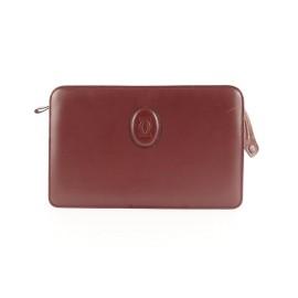 Cartier Bordeaux Leather Clutch Bag 505ct35