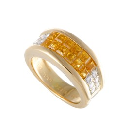 Cartier 18K Yellow Gold Diamond Pave and Invisible Set Yellow Sapphire Band Ring