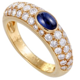 Cartier 18K Yellow Gold Diamond Pave Sapphire Cabochon Band Ring