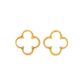 Van Cleef & Arpels Vintage Alhambra 18K Yellow Gold Mother of Pearl Earrings