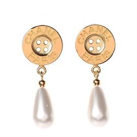 Chanel Metal Pearl Paris Button Drop Earrings Gold 860659