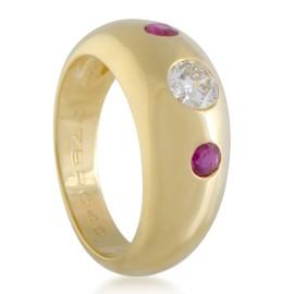 Cartier Estate 18K Yellow Gold 1 Diamond, 2 Ruby Band Ring CRT09021618