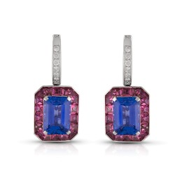 Roberto Coin Art Deco 18k White Gold Pink tourmaline, violet tanzanite Earrings