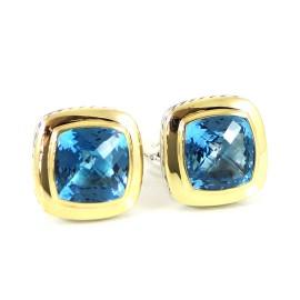 David Yurman Sterling Silver 18K Yellow Gold Blue Topaz Earrings