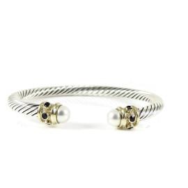 David Yurman Sterling Silver 14K Yellow Gold 5mm Pearl Sapphire Renaissance Bracelet