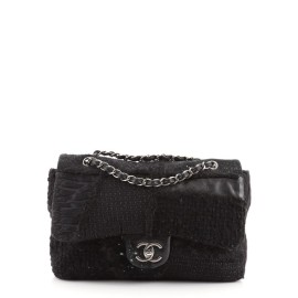 Chanel CC Chain Flap Patchwork Tweed and Fur Jumbo