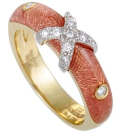 """Fabergé Enameled 18K Yellow and White Gold Diamond """"X"""" Band Ring"""