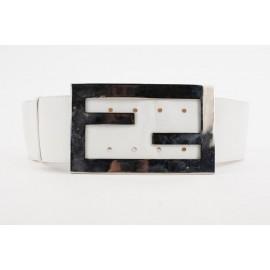 Fendi Oversized White FF Logo Leather Waist Belt 331ff223