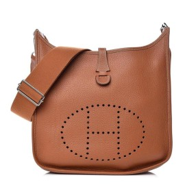 Hermès Gold Taurillon Clemence Evelyne III 29 PM Silver Hardware 862718