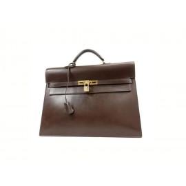 Hermès Havana Brown Box Leather Kelly Depeche Attache Briefcase 38 234199