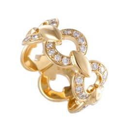 Hermes 18K Yellow Gold with 0.75ct Diamond Band Ring Size 5