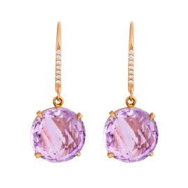 Carelle Rose de France 18K Rose Gold Amethyst and Diamond Drop Earrings