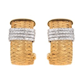 Roberto Coin 18K Yellow Gold Woven 0.50ct. Diamond Hoops