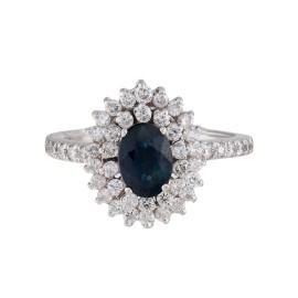 14K White Gold Sapphire 0.60ctw. Diamond Ring Size 5.5