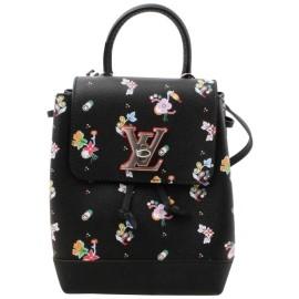 Louis Vuitton Black Leather Floral Mini Lockme Backpack 861417