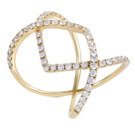 Odelia 18K Yellow Gold Diamond Pave Openwork Diamond Band Ring