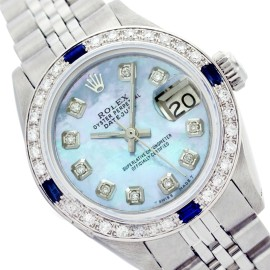 Rolex Lady Datejust Blue Mother of Pearl Diamond Dial and Bezel Stainless Steel 26mm Watch