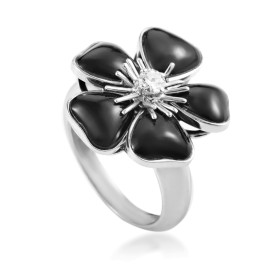Van Cleef & Arpels 18K White Gold Nerval Onyx and Diamond Ring