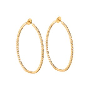 18K Yellow Gold Handset White Diamonds Jara Earrings