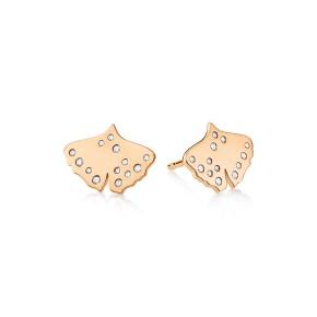 GINETTE NY 18K Rose Gold Diamond Gingko Studs