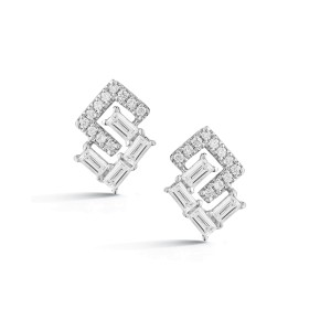 White Gold Sadie Pearl Geo Baguette and Pave Earrings