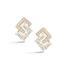 Yellow Gold Sadie Pearl Geo Baguette and Pave Earrings
