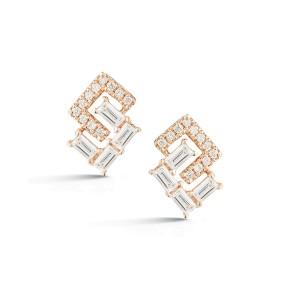 Rose Gold Sadie Pearl Geo Baguette and Pave Earrings