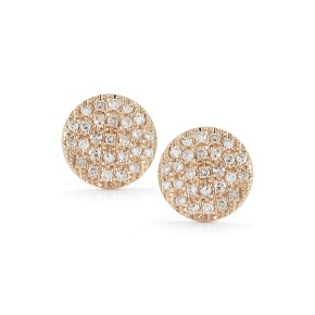 Rose Gold Lauren Joy Pave Medium Disc Earrings