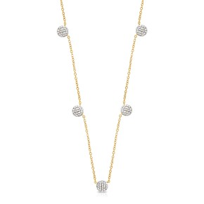 Yellow Gold Diamond Five Micro Station Infinity DBTY Necklace