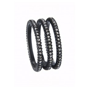 Yossi Harari Jewelry Oxidized Gilver Rose Cut Diamond Triple Ring Size 6
