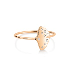 GINETTE NY 18K Rose Gold Diamond Gingko Ring