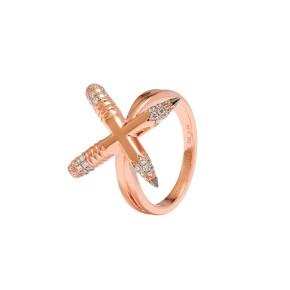 TZURI Rose Gold X Ring